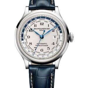 Capeland steel leather worldtimer watch Men automatic round 44 mm