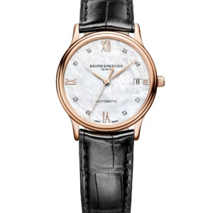Watch Classima red gold, leather watch. Automatic, round, 33mm