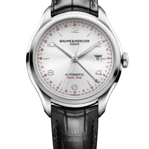 Clifton steel  leather dual time watch Men automatic round 43 mm