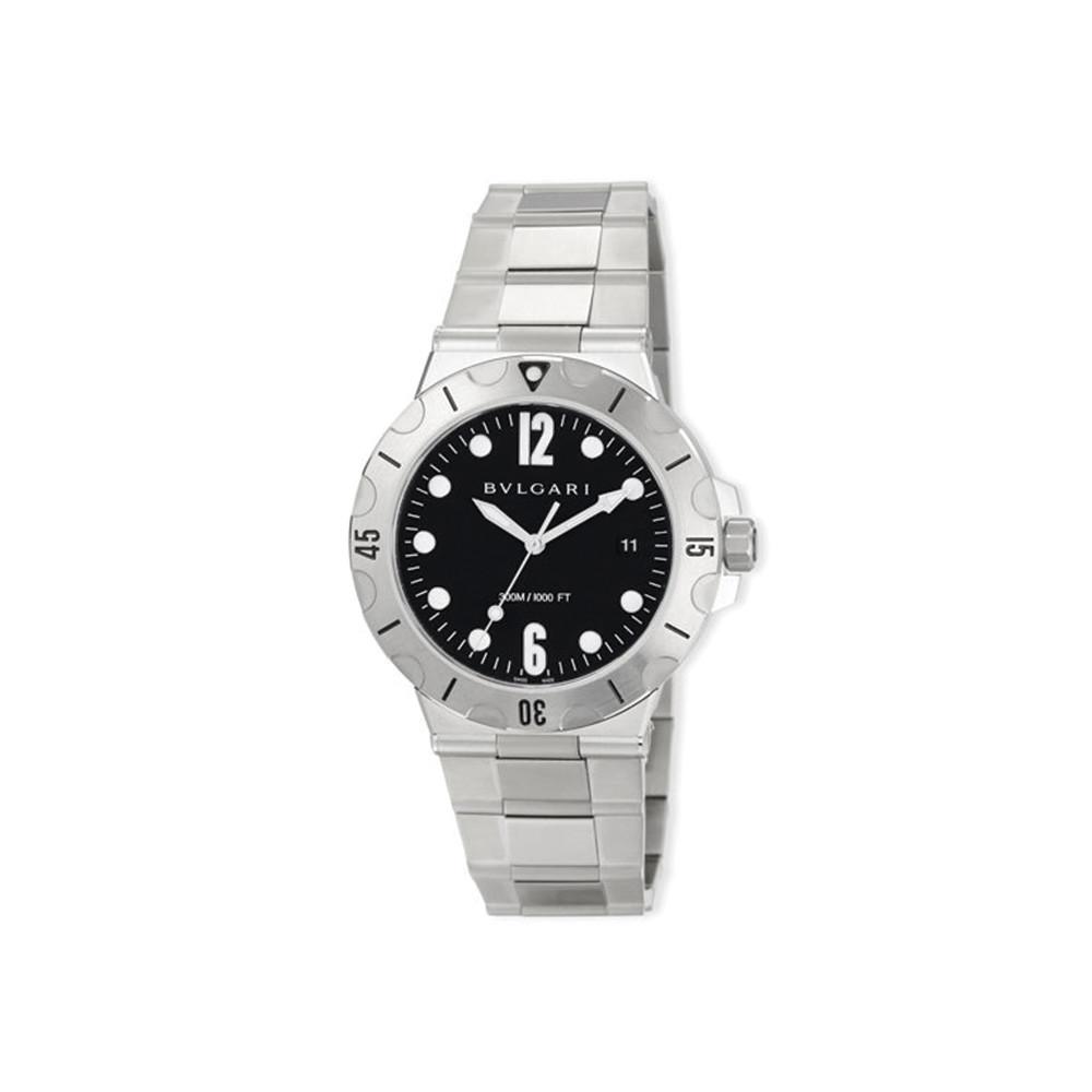 BVLGARI 41mm Diagono Scuba Stainless Steel Watch, Black Dial