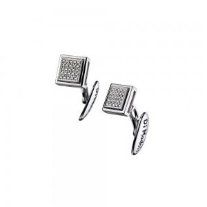 Men's Falco 18K White Gold & Diamond Cufflinks